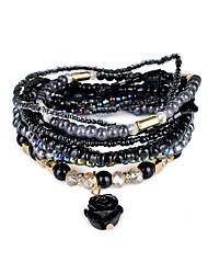 Lureme Bohemian Beads Rose Pendant Multi Strand Textured Stackable Bracelet Set