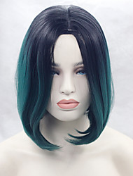 Fashion Ombre Green Short Bob Wig Best Quality Half Hand Tied Fiber Hair Heat Resistant Synthetic Lace Front Wigs