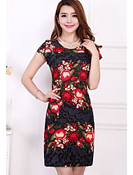 Women's Party Going out Sheath Dress,Floral Round Neck Above Knee Short Sleeves Others Summer High Rise Stretchy Thin