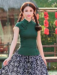 Feminino Camiseta Festa Temática AsiáticaSólido Outros Colarinho Chinês Manga Curta