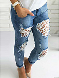 Women's High Rise strenchy Jeans Pants,Boho Loose Solid