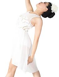 Lyrical Dance Costume Women's / Children's Ballet Dress / Polyester Paillettes / Flower(s) / Pleated / Sequins / Front Sweetheart Back V-neck