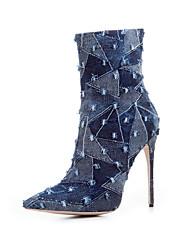 Women's Heels Fashion Boots Fabric Summer Fall Casual Light Blue Dark Blue 4in-4 3/4in