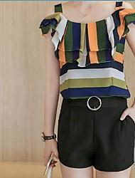 Для женщин Офис / Карьера Повседневные Весна Лето Блузка Юбки Костюмы На бретелях,Как у футболки Мода Полоски Текстура СтильныеБез