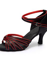 Women's Latin Silk Sandals Indoor Customized Heel Black/Red Customizable