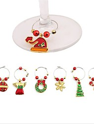 1Set Christmas Wine Glass Decoration Charms Party New Year Cup ring Table Decorations Xmas Pendants