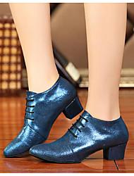 Damen Tanz-Turnschuh Echtes Leder PU Sandalen Sneakers Innen Blockabsatz Blau 5 - 6,8 cm