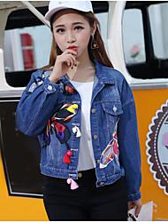 Women's Daily Casual Spring Summer Denim Jacket,Print Shirt Collar Long Sleeve Short Cotton