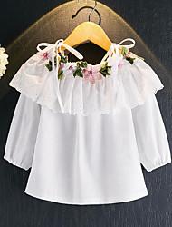 Девочки Блуза Искусственный шёлк Цветочный принт Весна Осень Длинный рукав Обычный