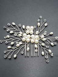 Ivory White Handmade Pearl Crystal Headpiece-Wedding Special Occasion Birthday Housewarming Party/ Evening Outdoor Hair Combs 1 Piece