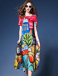 Для женщин На выход Уличный стиль Шинуазери (китайский стиль) Свободный силуэт С летящей юбкой Платье С принтом,Круглый вырезСредней