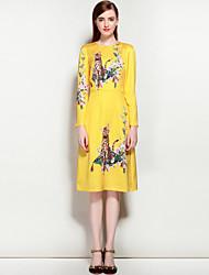 Для женщин Для вечеринок На выход На каждый день Очаровательный Уличный стиль А-силуэт Платье Цветочный принт С животными принтами,