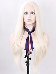 Femme Moyen Long Blond Blond platine Raide Cheveux Synthétiques Dentelle frontale Perruque Naturelle