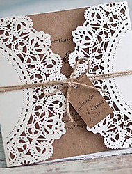 White Rustic Wedding Invitation Cards Customized Kraft Invitations - Set of 50