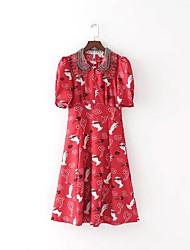 Ample Courte Tee Shirt Robe Femme Sortie Décontracté / Quotidien simple Chic de Rue,Fleur Col de Chemise Midi Mi-long Manches CourtesSoie