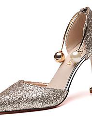 Damen Sandalen PU Sommer Walking Perle Stöckelabsatz Gold Schwarz Silber 7,5 - 9,5 cm