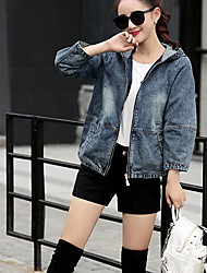 Women's Daily Modern/Comtemporary Spring Denim Jacket,Solid Hooded Long Sleeve Short Others