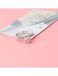 Damen Ring Kubikzirkonia Doppelschicht Vintage Elegant Platin Kubikzirkonia Runde Form Schmuck Für Hochzeit Party Verlobung Zeremonie