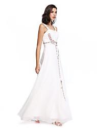 Ts couture prom / robe de soirée formelle - style de célébrité a-ligne bretelles en mousseline de soie avec perles