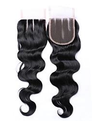 8 дюймов 4 * 4 верхняя часть шнурка 100% бразильская фабрика оптовой продажи фабрики человеческих волос оптом продавая # 1b естественная