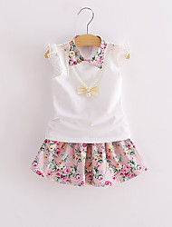 Girls' Solid Floral Sets,Cotton Modal Acrylic Summer 1/2 Length Sleeve Clothing Set