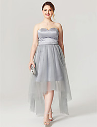2017 TS Couture Plus Size Cocktail Party Dress - Open Back See Through A-line Sweetheart Asymmetrical Satin Tulle with Sash / Ribbon Pleats