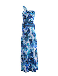 Women's Beach Holiday Going out Sexy Simple Swing Dress,Floral Print One Shoulder Maxi Sleeveless Milk Fiber Summer High Rise