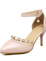 Damen High Heels Pumps PU Sommer Hochzeit Party & Festivität Kleid Pumps Strass Stöckelabsatz Weiß Rosa 5 - 7 cm