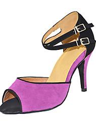 Damen Latin Seide Sandalen Sneakers Professionell Verschlussschnalle Stöckelabsatz Purpur Maßfertigung