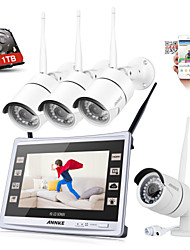 SANNCE® 4CH CCTV NVR Wireless 1080P Weatherproof IP Camera Security System Remote ALert with 1TB HDD