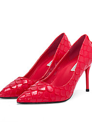 Women's Heels T-Strap PU Spring Fall Wedding Party & Evening Dress T-Strap Split Joint Stiletto Heel Nude Ruby Navy Blue Gray Black4in-4