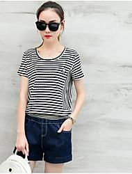 Mujer Casual Casual/Diario Verano T-Shirt Pantalón Trajes,Escote Redondo A Rayas Manga Corta