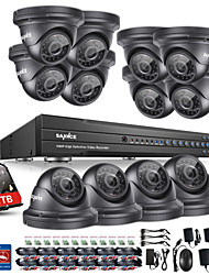 Sannce® 16ch система безопасности 1080p ahd / tvi / cvi / cvbs / ip 5-in-1 dvr с камерами 12pcs 2.0mp с 1tb hdd