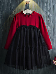 Girl's Patchwork Dress,Rayon Polyester Spring Fall Long Sleeve