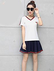 Для женщин фестиваль Лето Как у футболки Юбки Костюмы V-образный,Современный Однотонный Полоски С короткими рукавами
