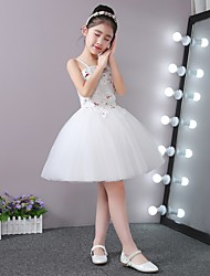 Ball Gown Short/Mini Flower Girl Dress - Stick-Satin Tulle Strap with Applique Beading Bandage