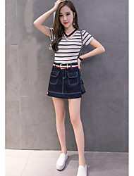 Women's Casual/Daily Above Knee Skirts A Line Solid Summer