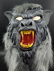 Hot Sale Latex Animal Wolf Head Mask With Hair Halloween Party Fancy Scary Dress Costume Horror Anonymous Face Masks