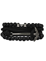Men's Women's Strand Bracelet Friendship Hip-Hop Stretch Gothic Costume Jewelry Fashion Vintage PU Leather Resin Nylon PVA Alloy Anchor