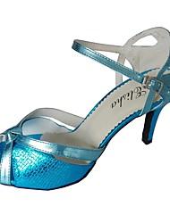 Damen Latin Kunststoff Sandalen Innen Maßgefertigter Absatz Schwarz Grau Rot Blau Bronze