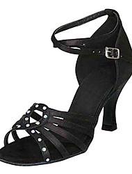 "Women's Latin Silk Sandals Performance Crystals/Rhinestones Stiletto Heel Black 3"" - 3 3/4"" Customizable"