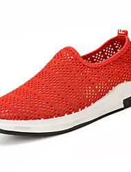 Для женщин Мокасины и Свитер Удобная обувь Полиуретан Весна Осень Удобная обувь Черный Серый Пурпурный Розовый На плоской подошве