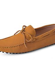 Herren Loafers & Slip-Ons Mokassin Echtes Leder Leder Frühling Sommer Normal Mokassin Braun Pink lichter Ocker Blau Burgund Flach