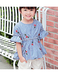 Girls' Stripes Sets,Cotton Summer Short Sleeve Clothing Set