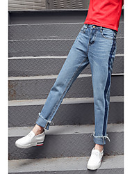 Women's High Waist Micro-elastic Loose Jeans Pants,Street chic Simple Relaxed Pure Color Ripped Solid Textured