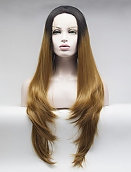 black to light brown two tones ombre hair body wave lace front synthetic wigs heat resistant fiber wig