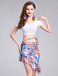 Belly Dance Outfits Women's Performance Modal Milk Fiber Pattern/Print 2 Pieces Short Sleeve Natural Top / Skirts