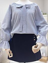 Feminino Camisa Saia Conjuntos Casual Casual Verão,Sólido Colarinho Chinês Manga Longa Micro-Elástica