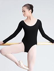 Devemos nós leotardas de balé feminino de treinamento de algodão 1 peça de manga longa de leotard alto