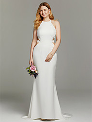 Mermaid / Trumpet Jewel Sweep / Brush Train Knit Wedding Dress with Sashes/ Ribbons by LAN TING BRIDE®